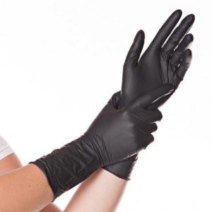 Long Nitrile Gloves SAFE LONG, powderfree (Black)